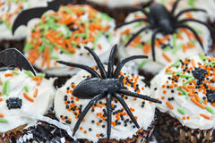 Dekoracyjne Halloweenowe o temacie babeczki Obraz Royalty Free