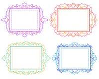 Dekoracyjne kolorowe rocznik ramy, granicy ustawiający i Zdjęcie Stock