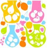 Dekoracyjne owocowe ikony - sylwetki Fotografia Royalty Free