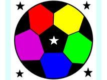 Dekoracyjne piłek nożnych piłki w jaskrawej tęczy barwią ilustracji