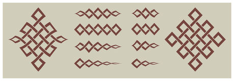 Dekoracyjne rzeczy i ornamentów geometryczni kształty Zdjęcia Stock