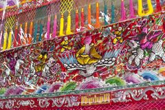 Dekoracyjne tkanin pokrywy w Chińskiej świątyni obraz royalty free