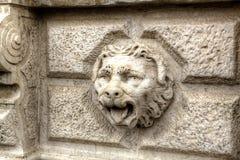 Dekoracyjnego głowa kamienia venetaian lew zdjęcia stock