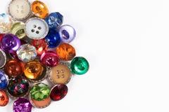 Dekoracyjnego kolorowego rocznika scrapbook lub guzika szwalni guziki fotografia royalty free