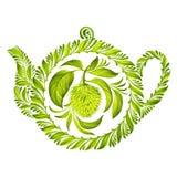 Dekoracyjnego ornamentu ziołowy teapot ilustracji
