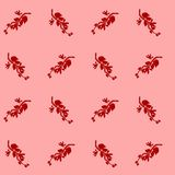 Dekoracyjnego projekta Bindweed kwiatu czerwony liść z lekkim czerwonym tła powitaniem & tkanina bezszwowym wzorem royalty ilustracja