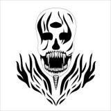 Dekoracyjnego projekta czaszki diabła trzy oczu Wektorowy sztandar Fotografia Royalty Free