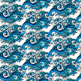 Dekoracyjnego wektorowego błękitnego kwiatu ornamentacyjny wzór Obrazy Stock