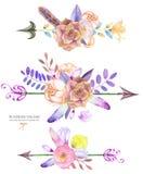 Dekoracyjni bukiety z akwarela kwiecistymi elementami: sukulenty, kwiaty, liście, piórka, strzała i gałąź, Fotografia Royalty Free