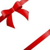 Dekoracyjni czerwoni dwa łęku diagonalni czerwoni faborki Wektorowy łęk dla strony Obraz Stock