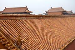 Dekoracyjni dachy antyczni pawilony w Niedozwolonym mieście w Pekin, Chiny Obrazy Stock