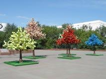 Dekoracyjni drzewa na kwadracie obraz royalty free