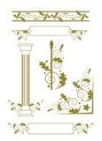 Dekoracyjni Elementy Wektoru wzór z kwiatami i roślinami bukiet róż ilustracyjne dekoracji kwieciste wektorowe Oryginalny kwiecis Zdjęcia Stock