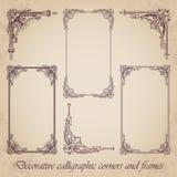 Dekoracyjni kaligraficzni kąty i ramy - wektoru set ilustracji