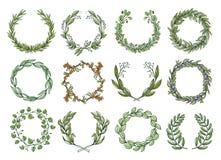 Dekoracyjni kwiatów wianki ustawiają, romantyczny okwitnięcie wystrój royalty ilustracja