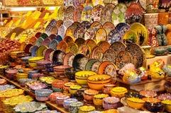 Dekoracyjni malujący talerze, przedmioty i pamiątki, Fotografia Stock
