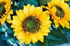 Dekoracyjni słoneczniki używać w dekoraci miasto ulicy Obraz Stock