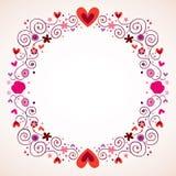 Dekoracyjni serca i kwiat rama royalty ilustracja