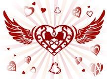 Dekoracyjni skrzydła i serce Ilustracja Wektor