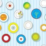 dekoracyjni talerze ustawiająca ściana Obraz Stock