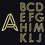 Dekoracyjny łaciński abecadło Zaokrągleni wektorowi złoto listy Styl cienkie linie Pełen wdzięku zaokrągla rejestry ilustracji