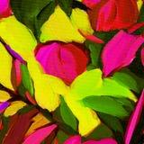 Dekoracyjny abstrakcjonistyczny obraz olejny na kanwie, ilustracja, tupocze Fotografia Royalty Free