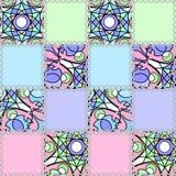 Dekoracyjny bezszwowy deseniowy patchworku tło z jaskrawymi elementami Zdjęcia Royalty Free