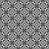 Dekoracyjny Bezszwowy Kwiecisty diagonalny Geometryczny Czarny & Biały Deseniowy tło Skomplikowany, materiał ilustracji