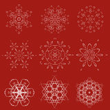 Dekoracyjny Bożenarodzeniowy płatka śniegu wektoru set Obraz Royalty Free