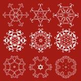 Dekoracyjny Bożenarodzeniowy płatka śniegu wektoru set Zdjęcie Royalty Free
