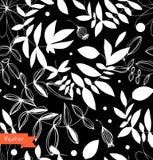 Dekoracyjny czarny i biały kwiecisty bezszwowy wzór Zdjęcie Stock