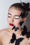 Dekoracyjny czarny motyl Zdjęcia Stock