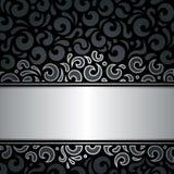 Dekoracyjny czarny & srebny luksusowy rocznik tapety tło Obraz Royalty Free