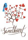 Dekoracyjny drzewo z czerwoną serce wektoru ilustracją Zdjęcia Stock