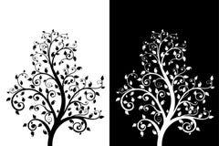 Dekoracyjny drzewo z liśćmi ilustracja wektor