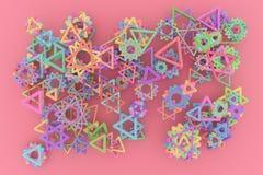 Dekoracyjny, ilustracje CGI geometryczny, wiązka trójbok & gwiazda widok od wierzchołka, dla projekt tekstury tła 3 d czyni? royalty ilustracja