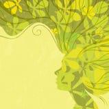 Dekoracyjny jesień skład z dziewczyną Obrazy Stock