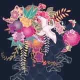 Dekoracyjny kimonowy kwiecisty motyw ilustracji