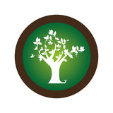 Dekoracyjny kurenda znaczek z obfitolistną drzewną rośliną ilustracja wektor