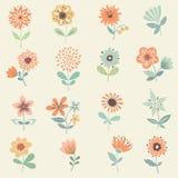 dekoracyjny kwiecisty set Obraz Royalty Free