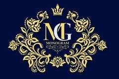 dekoracyjny kwiecisty wzór Złocista pełen wdzięku rama Wektorowy biznesu znak, tożsamość dla hotelu, restauracja, biżuteria, moda royalty ilustracja