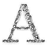 Dekoracyjny list A z pięknymi elementami dekoruje listy ilustracji