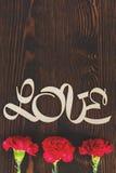 Dekoracyjny miłość tekst, goździki i Zdjęcia Royalty Free