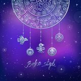 Dekoracyjny mistyczny półkole, etniczna biżuteria Fotografia Royalty Free
