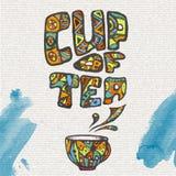 Dekoracyjny nakreślenie filiżanka kawy Obrazy Royalty Free