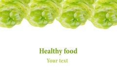 Dekoracyjny obdzierganie stosy zielony pieprz na białym tle odosobniony Rama knedle tła jedzenie mięsa bardzo wiele Obrazy Royalty Free