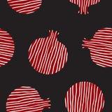 Dekoracyjny ornamentacyjny granatowiec robić zawijasów doodles Wektorowa abstrakcjonistyczna ilustracja owocowy logo dla oznakowa Zdjęcie Stock