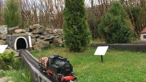 Dekoracyjny pociąg rusza się w lato parku na sztucznej kolei zbiory