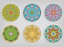 Dekoracyjny round ornamentuje set, odizolowywający projektów elementy fotografia stock
