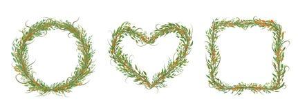 Dekoracyjny set okrąg, serce, kwadrat z bracnhes i liście, ilustracji